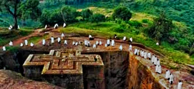 Ancient cross-shaped church in Ethiopia