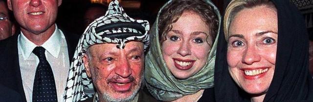 Clinton family spreading the love with arch-terrorist Yasir Arafat.