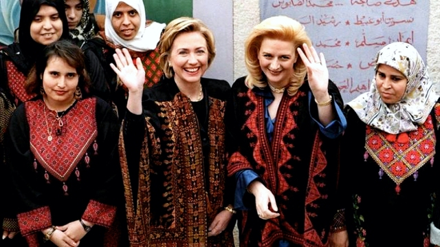 Hillary Clinton shows solidarity with Palestinians in their terror war against Israel.